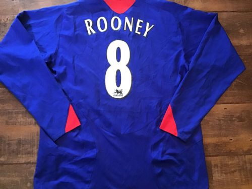 2005 2006 Manchester United Rooney L/s Away Football Shirt Large